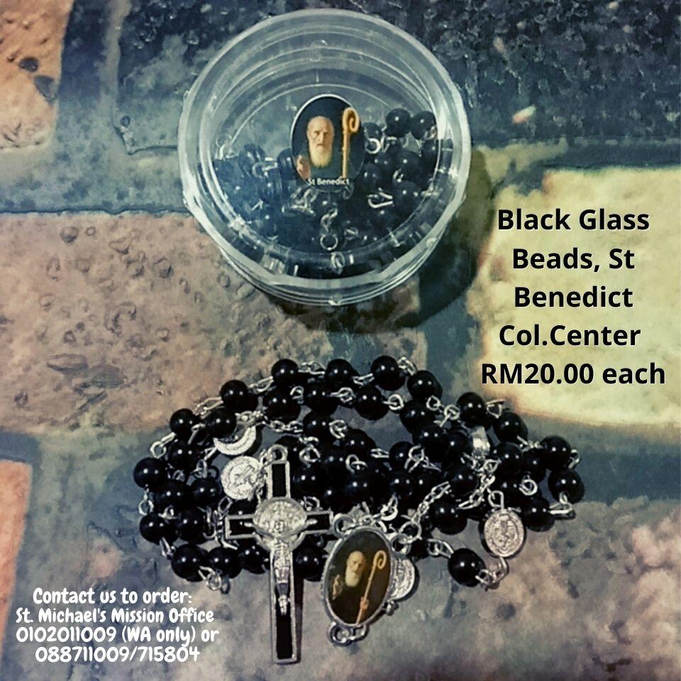 Black Glass Beads, St Benedict Col.Center RM20.00 each