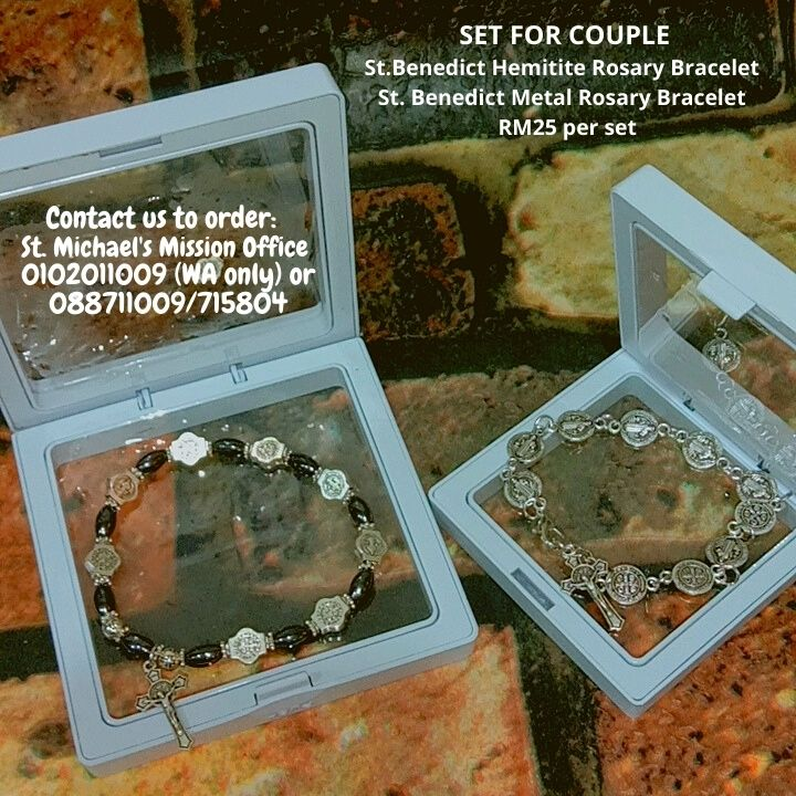 SET FOR COUPLE St.Benedict Hemitite Rosary Bracelet St. Benedict Metal Rosary Bracelet RM25 per set